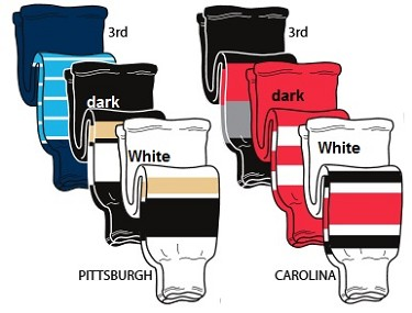 Hockey Socks - Pittsburgh or Carolina by Pearsox Pro Weight