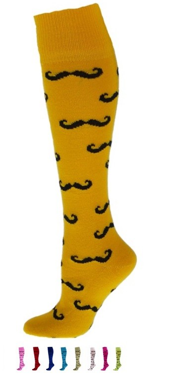 Mustache Knee High Socks by Red Lion
