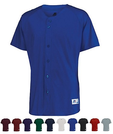 Faux Full Button Baseball Jersey by Russell - Raglan Sleeve
