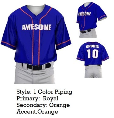 Custom Baseball Jerseys by Prosphere Sublimated  (1 Color Piping)