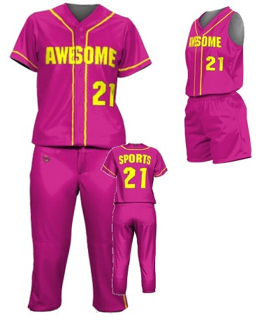 Prosphere Premium Sublimated Custom Softball Uniforms (1 Color Piping)