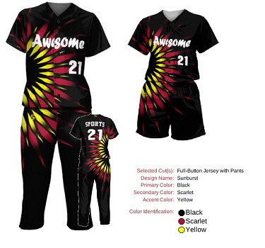 Prosphere Premium Sublimated Softball Uniforms (Starburst)